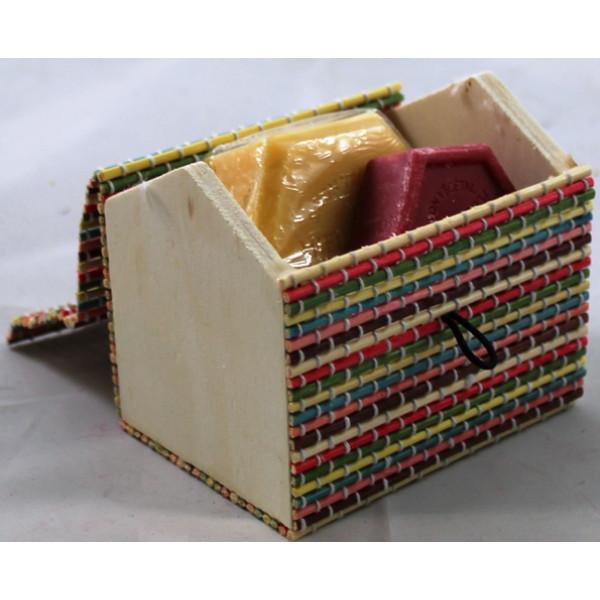 Caixa bambu casinha - Sabonete e Mini Sabonete de Mel