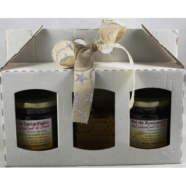 Caixa Presente com 2 Frascos de mel e Vela Cera Abelha Cubo