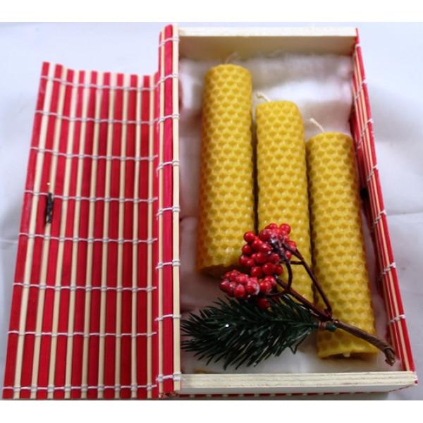 Caixa de Bambu com Trio de Velas