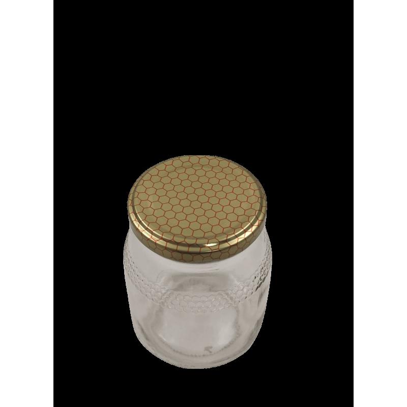Caixa 12 frascos 500 gr favo com tampa alvéolo