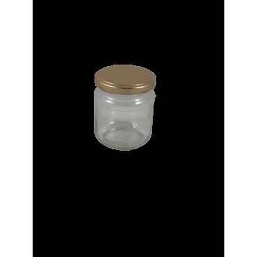 Caixa 12 frascos 250 gr com tampa dourada