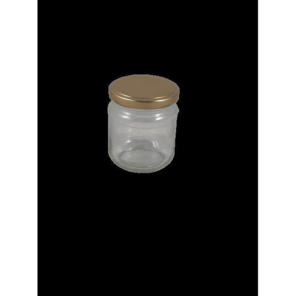 Frasco de 250 gr com tampa dourada em palete (0.16 + IVA por frasco em palete de 3757)