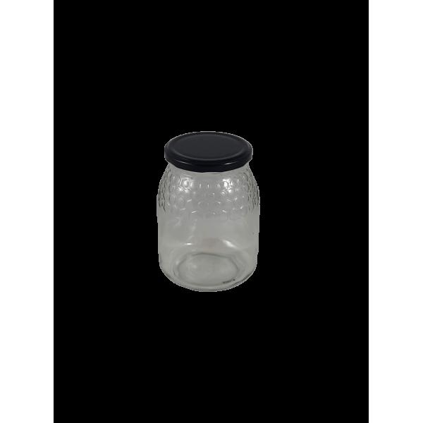 Caixa 12 frascos 1 Kg favo com tampa preta
