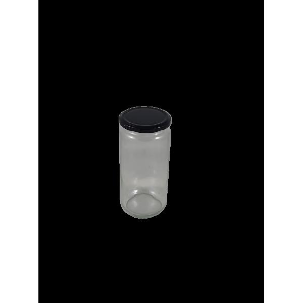 Caixa 12 frascos 1 Kg liso com tampa preta