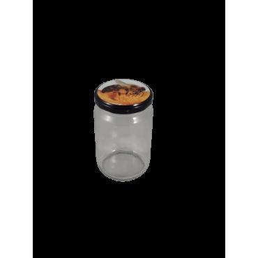 Caixa 12 frascos 500 gr liso com tampa com abelha