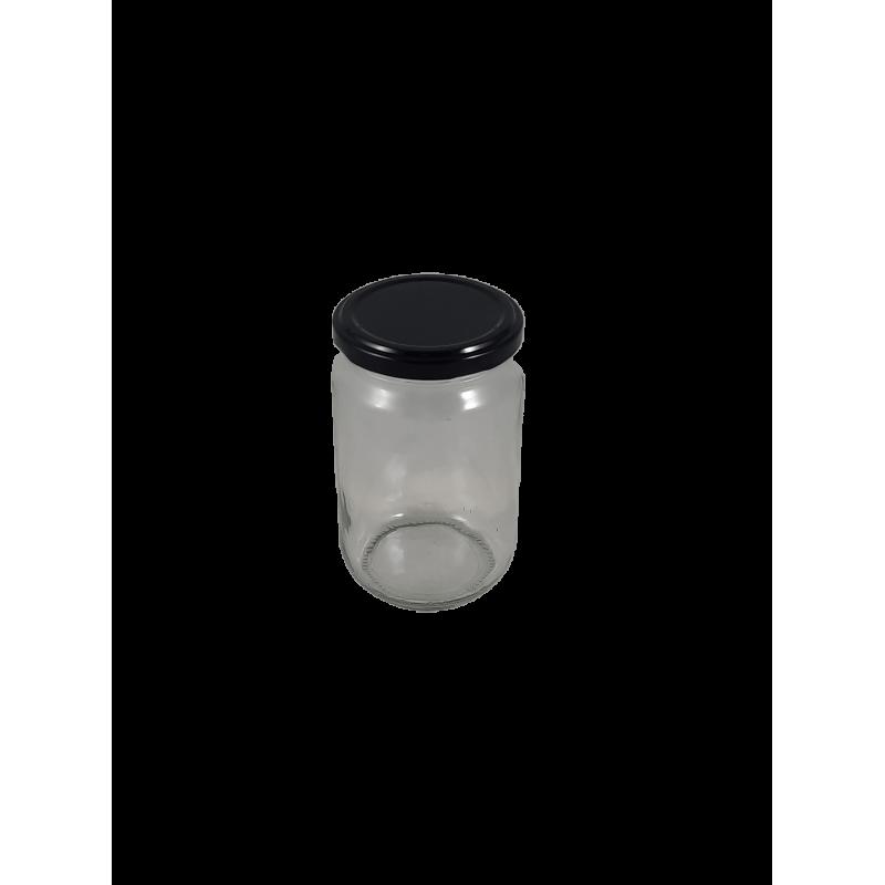 Caixa 12 frascos 500 gr liso com tampa com preta
