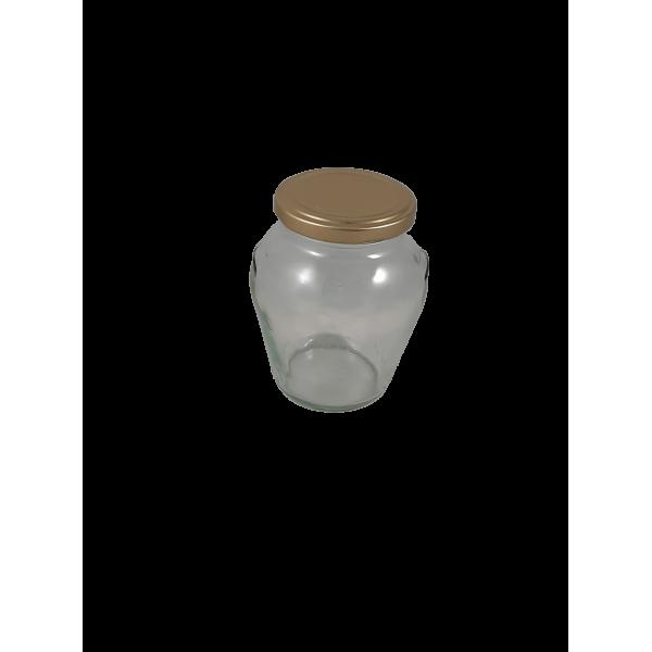 Caixa 12 frascos 1/2 kg Orcio com tampa dourada