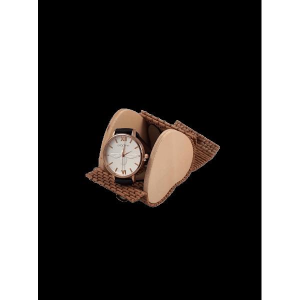 Relógio abelha em Caixa Bambu com formato coração