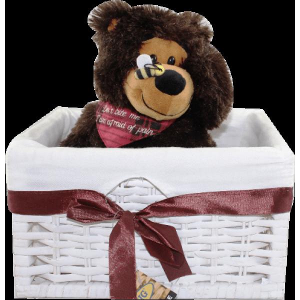 Caixa Branca com Urso 28 cm
