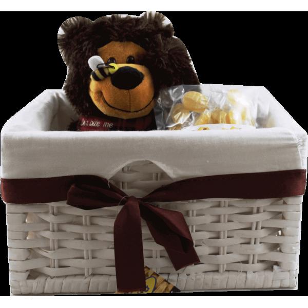 Caixa Branco com Urso 28 cm + Saco de Rebuçados à escolha