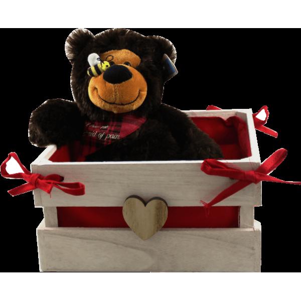 Caixa coração com Urso Peluche 28 cm