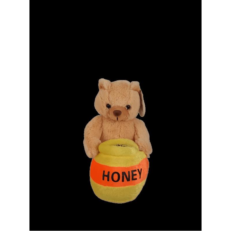 Peluche urso com pote pequeno